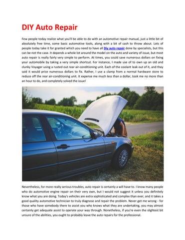 most common diy auto repairs
