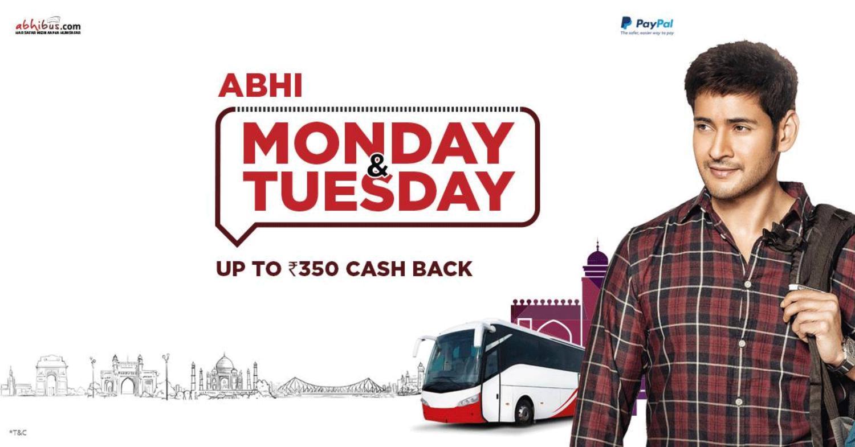 Abhibus Monday & Tuesday offer - upto rs 350 cash back on