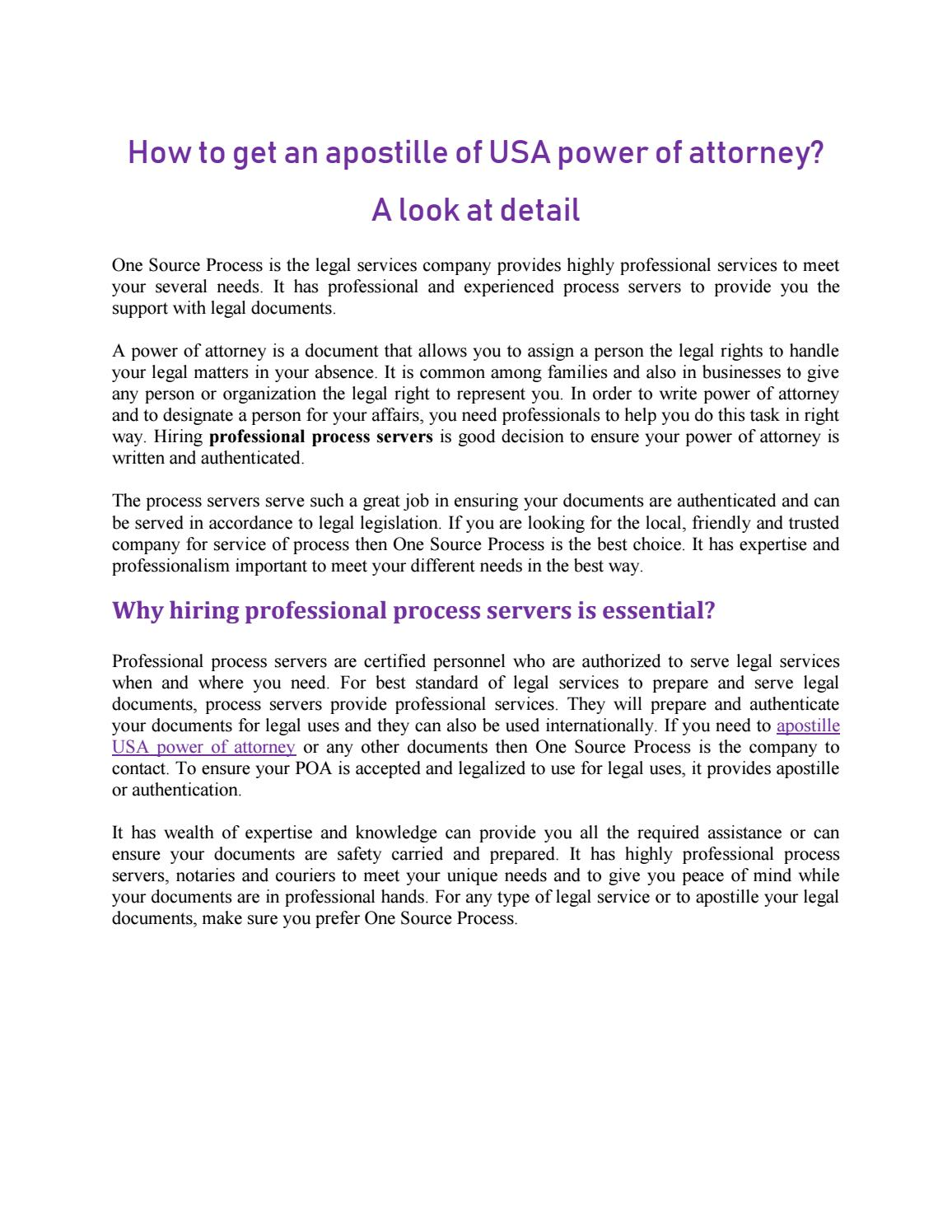 How To Get An Apostille Of USA Power Of Attorney A Look At Detail - Legal type documents