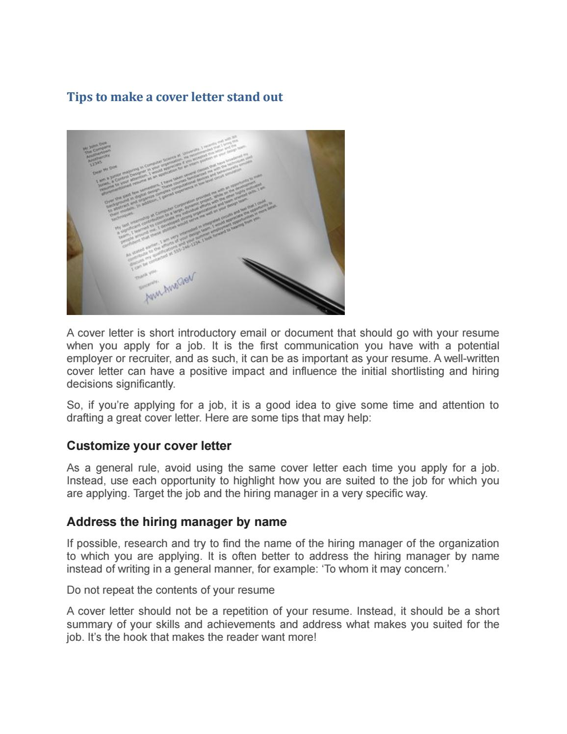 Tips To Make A Cover Letter Stand Out By Englishhelper8 Issuu