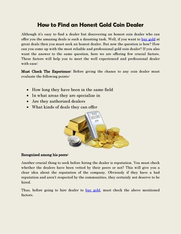 How To Find A Dealer >> How To Find An Honest Gold Coin Dealer By Houston Coins Issuu