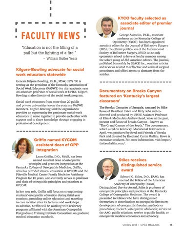 Page 15 of Faculty News