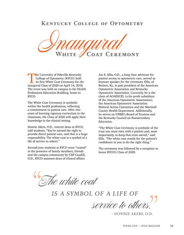 Page 23 of Kentucky College of Optometry Inaugural White Coat Ceremony