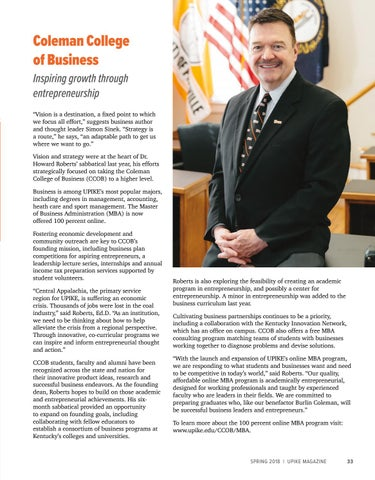 Page 33 of Coleman College of Business: Inspiring Growth through Entrepreneurship