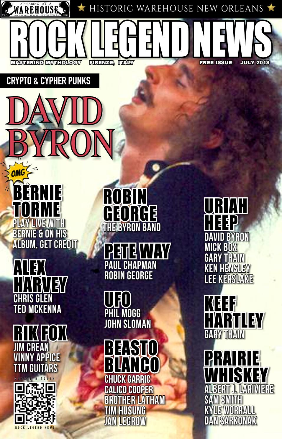 Rock Legend News July 2018 Issue Featuring David Byron