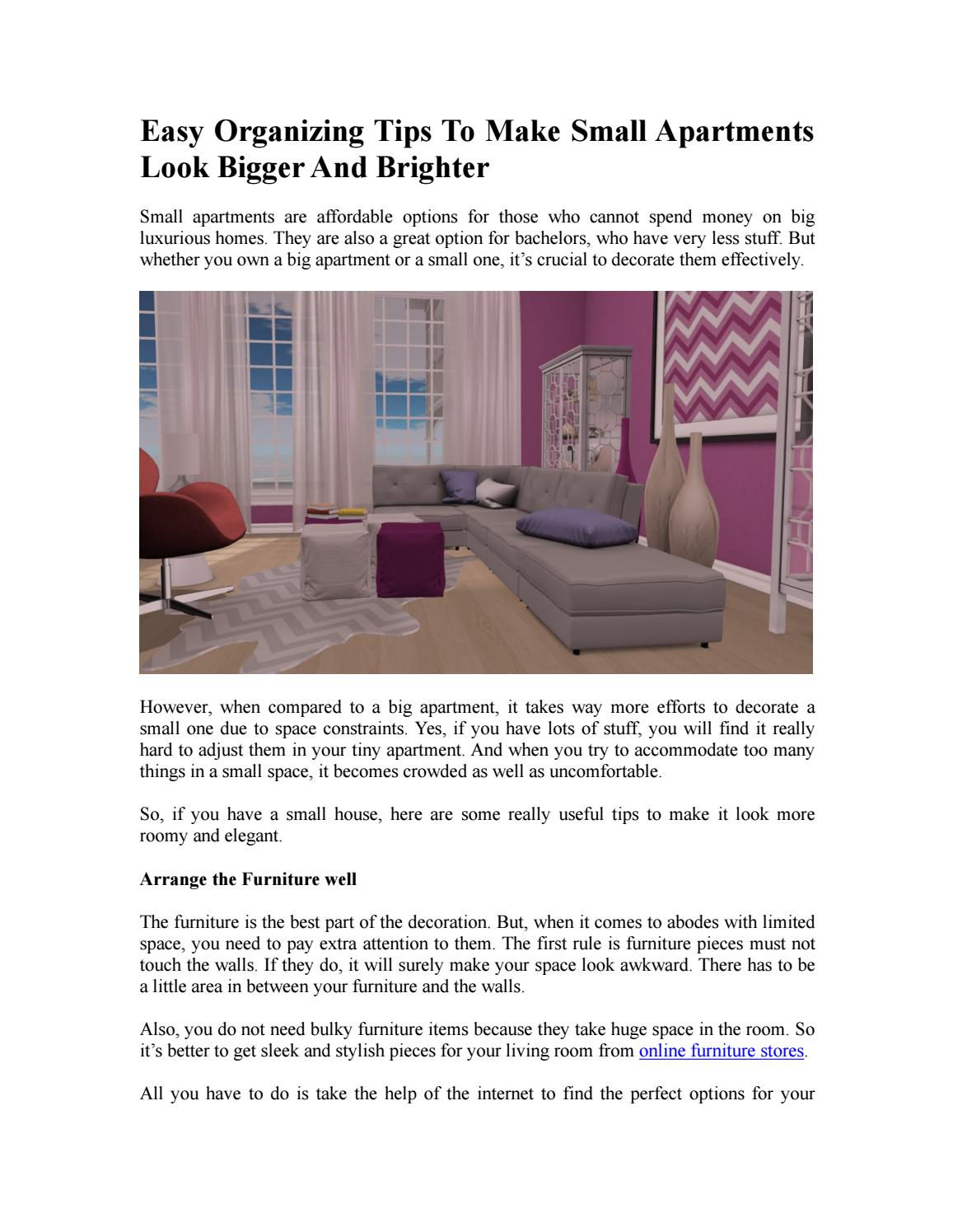 Easy organizing tips to make small apartments look bigger ...