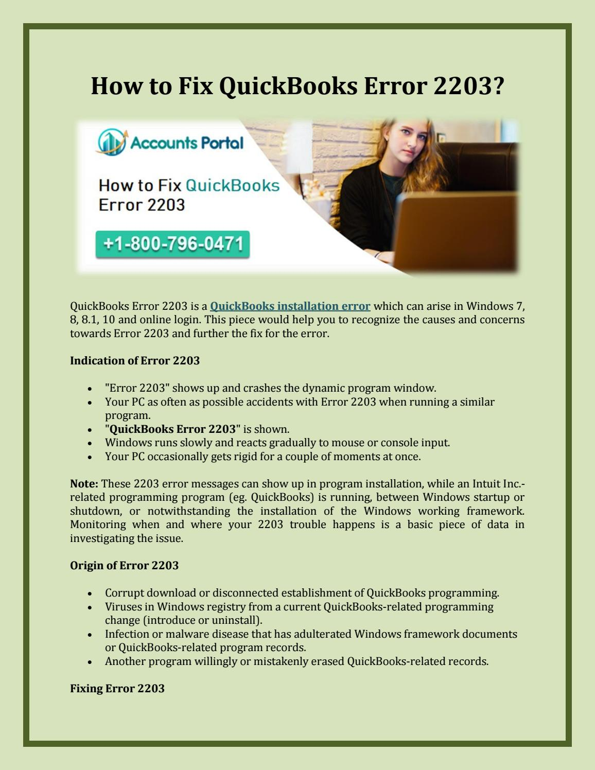 1-800-796-0471 How to Fix QuickBooks Error 2203? by