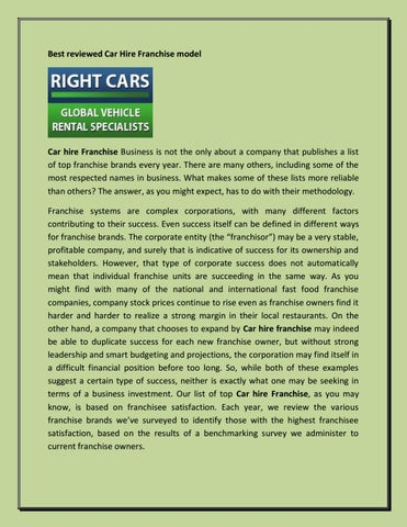 Best Reviewed Car Hire Franchise Model By Suman Das Issuu