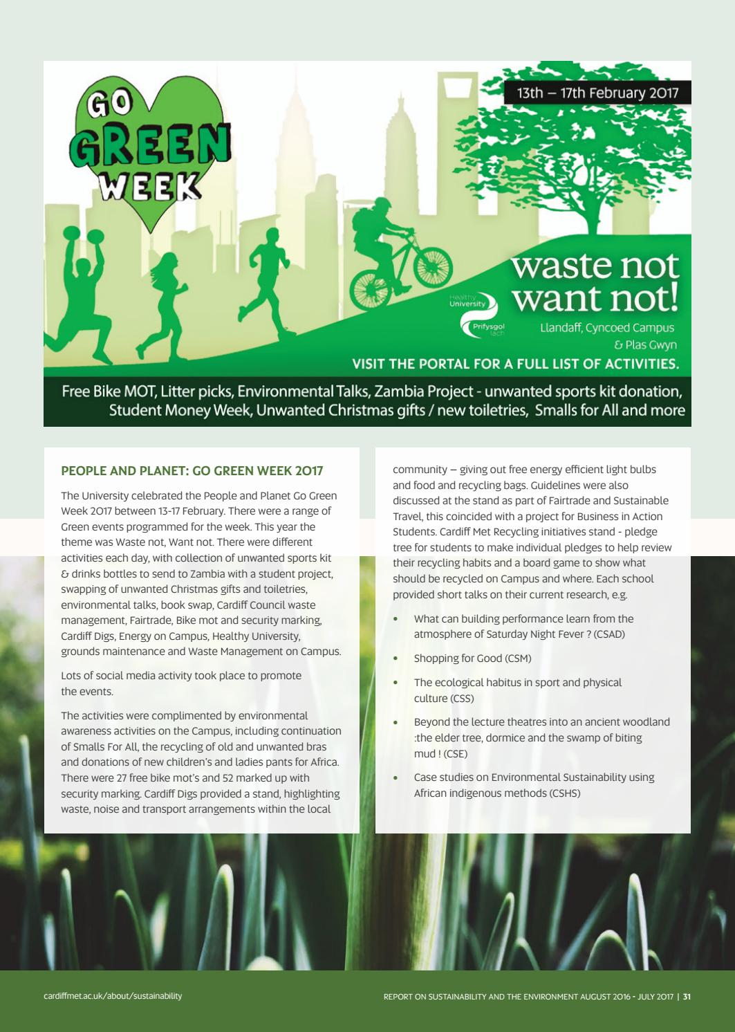 Report on Sustainability and the Environment - August 2016 - July