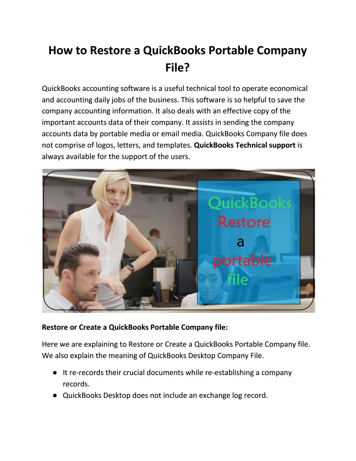 How to restore a quickbooks portable company file by 99