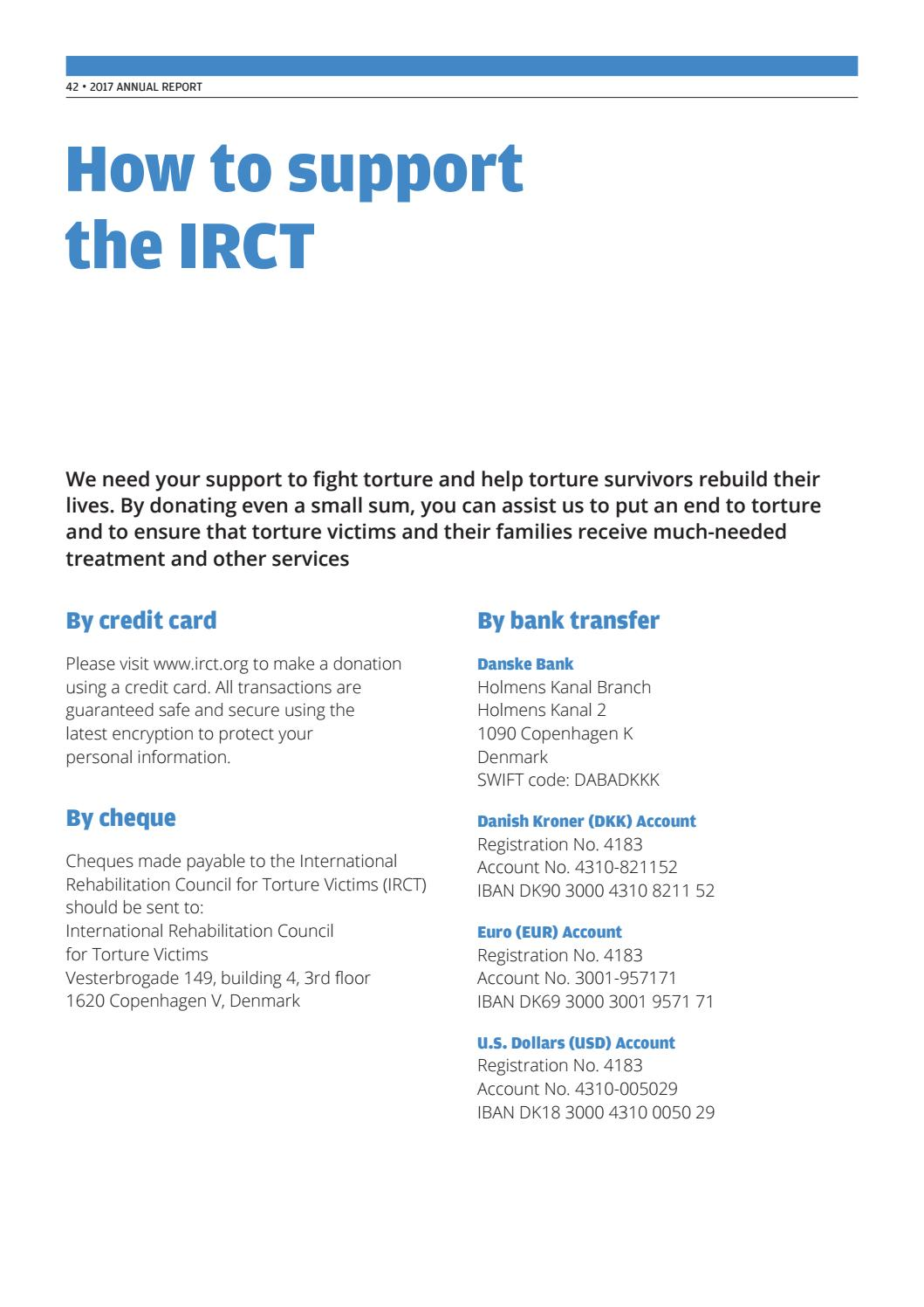 IRCT Annual Report 2017 by IRCT International Rehabilitation