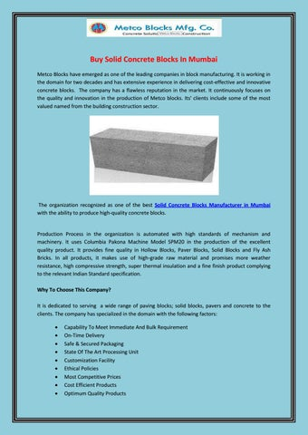 Buy Solid Concrete Blocks In Mumbai by Metco Blocks - issuu