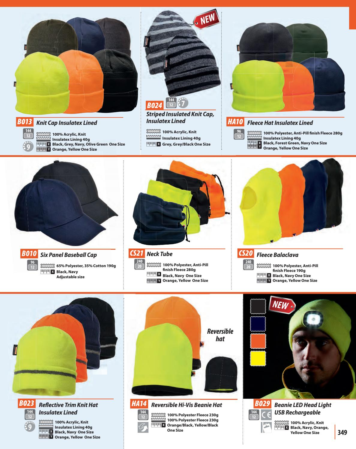 PORTWEST HA10 black navy green orange or yellow insulatex-lined fleece hat