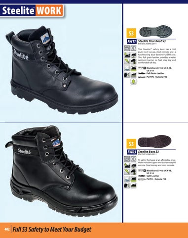 Portwest Steelite Thor Boot S3 Safety Steel Toe Midsole Leather SRC Black FW11