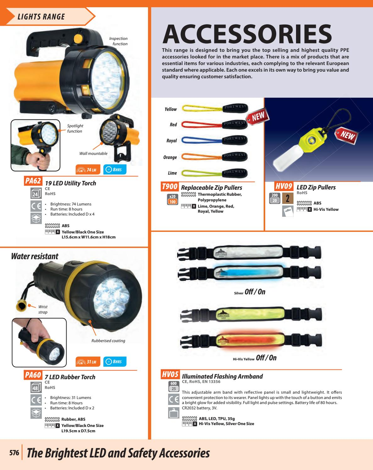 Portwest HV05 Safety Reflective Illuminated Flashing Armband Hi Viz Silver LED