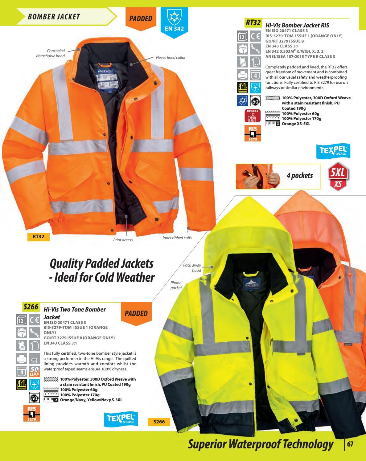 Hi-Vis Safety Workwear Bomber Jacket RIS Orange 5XL Portwest