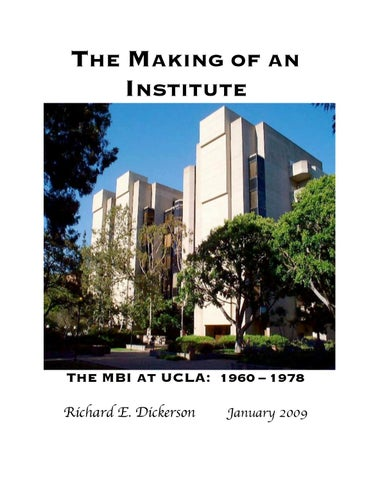 The Making of An Institute: The MBI at UCLA 1960-78 by