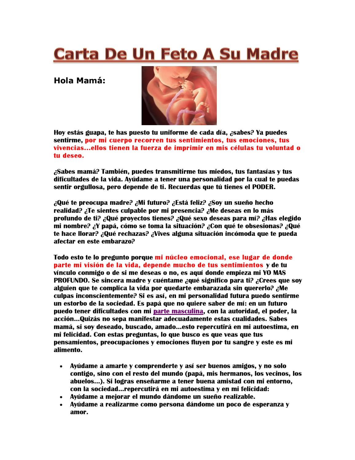 Carta De Un Feto A Su Madre By Gmail9926 Issuu