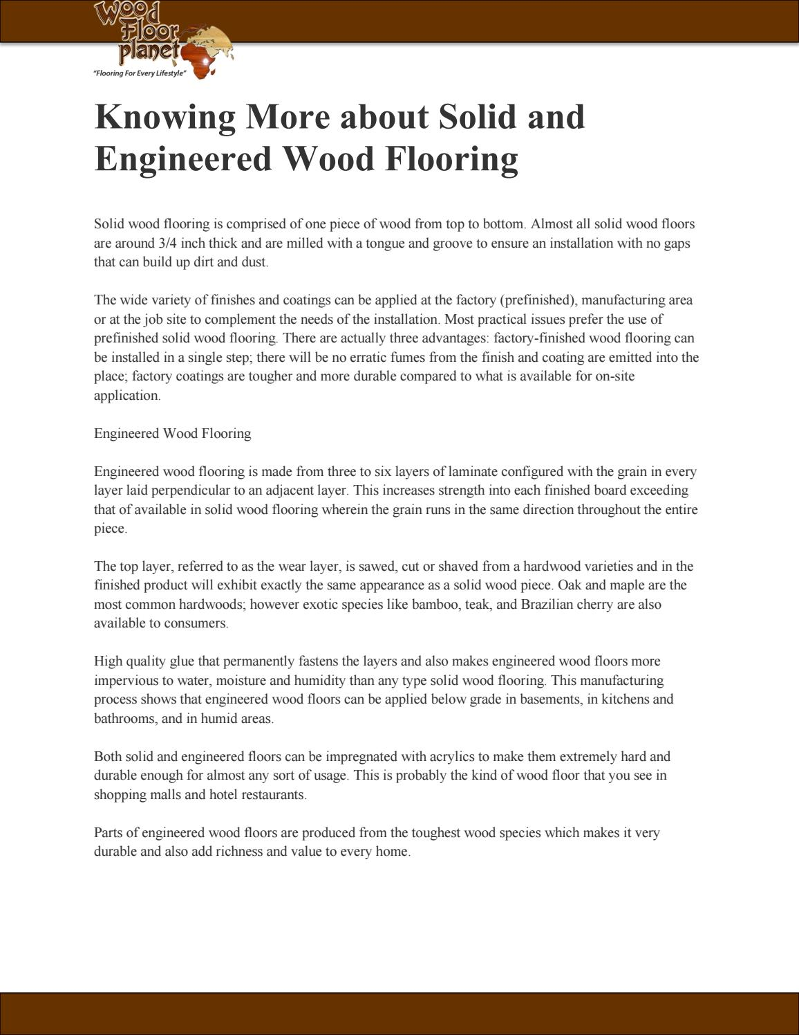 Knowing More About Solid And Engineered Wood Flooring By Woodlylinksu Issuu