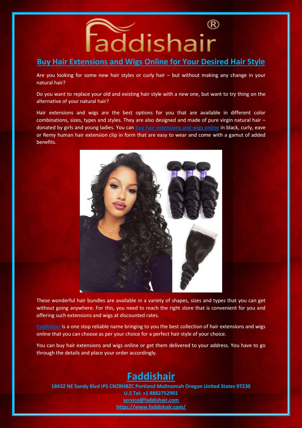 Buy Hair Extensions And Wigs Online For Your Desired Hair Style By