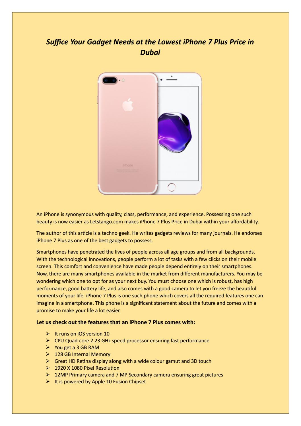 Suffice your gadget needs at the lowest iphone 7 plus price in dubai