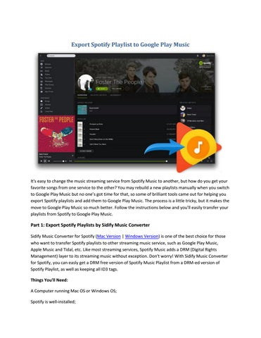 How to Export Spotify Playlist to Google Play Music by Paris