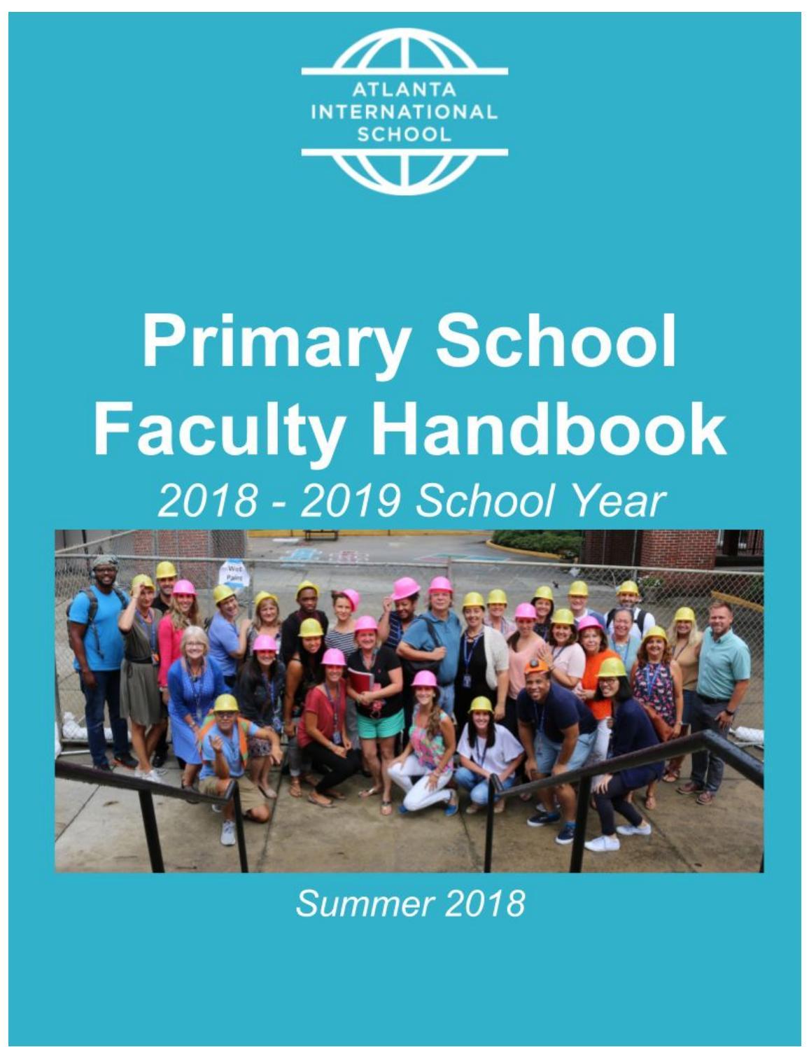 Primary School Faculty Handbook 2018-2019 by Atlanta International ...