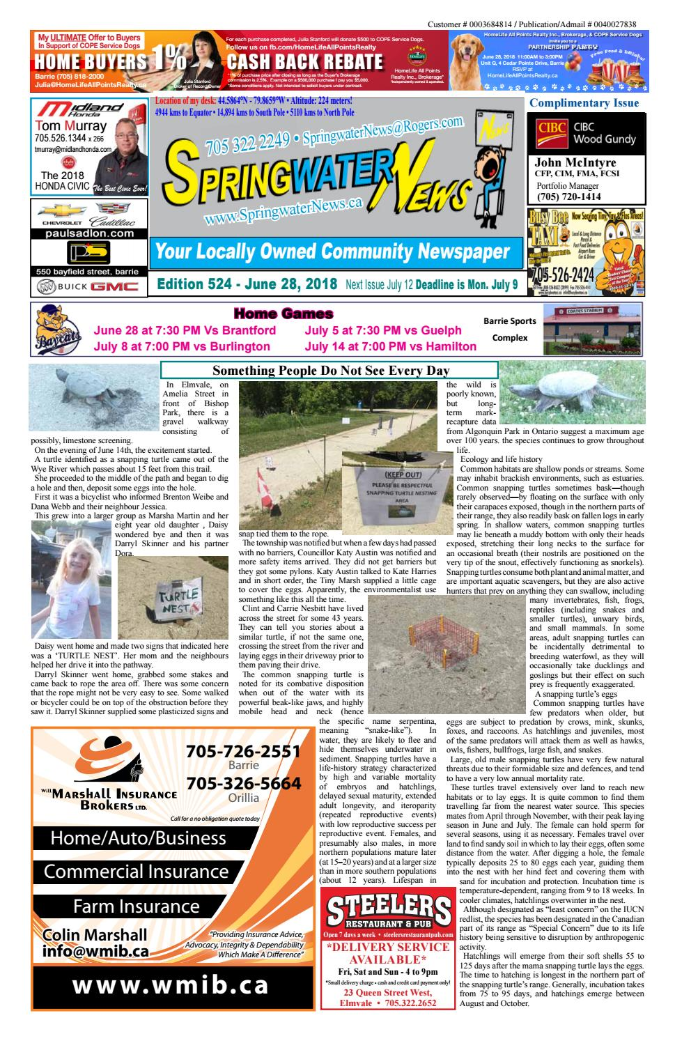 8d8f41f9d3 June 28 2018 ed 524 for web by Springwater News - issuu