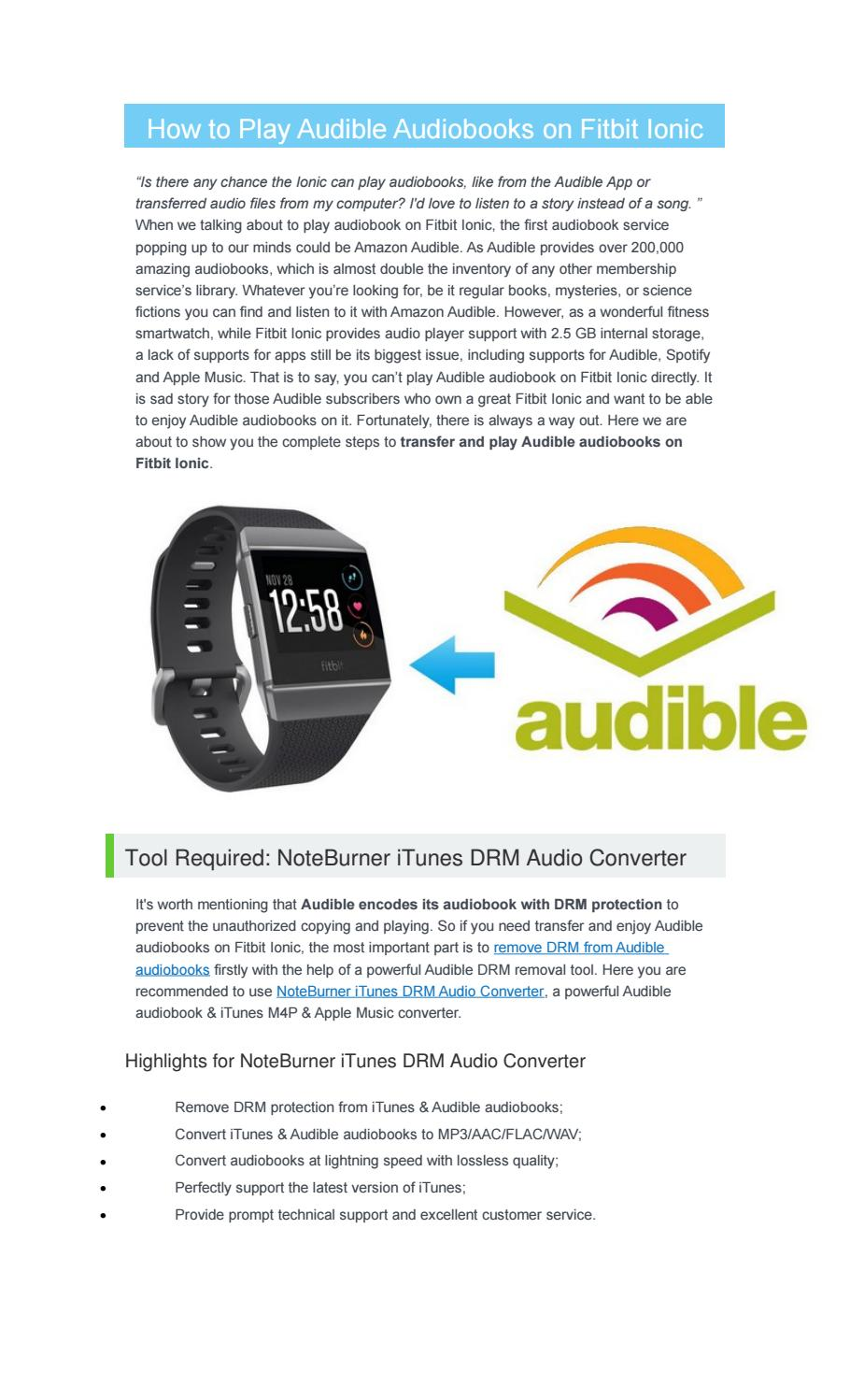 How to Play Audible Audiobooks on Fitbit Ionic by Nancy - issuu
