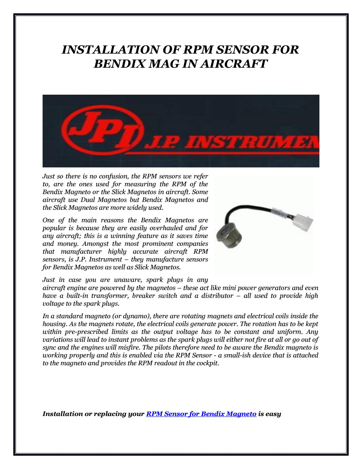 Installation of rpm sensor for bendix mag in aircraft by J P