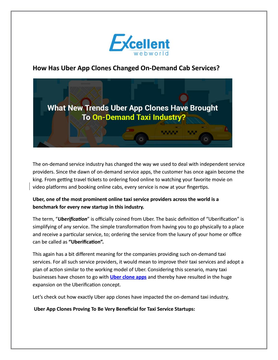 how has uber app clones changed on-demand cab services by excellent