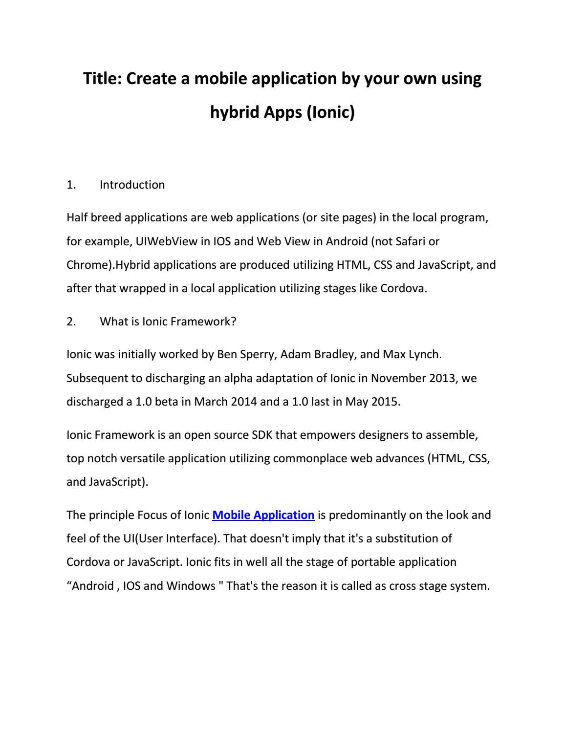 Create a mobile application by your own using hybrid Apps (Ionic) by