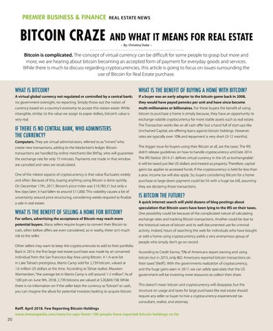 Page 20 of BITCOIN CRAZE and What it means for Real Estate