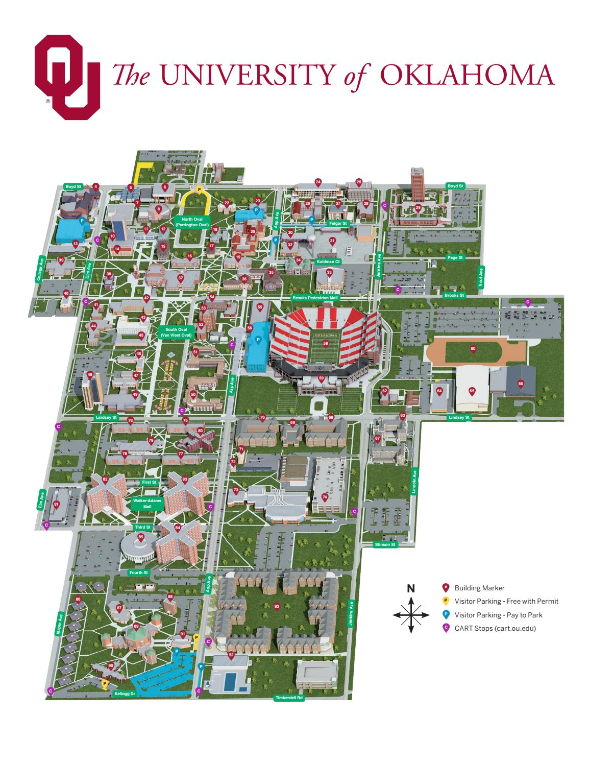 University Of Oklahoma Map 2018 Campus Map   Main by The University of Oklahoma   issuu