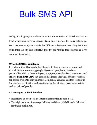 Bulk sms api best way for email & sms marketing by Kaveri