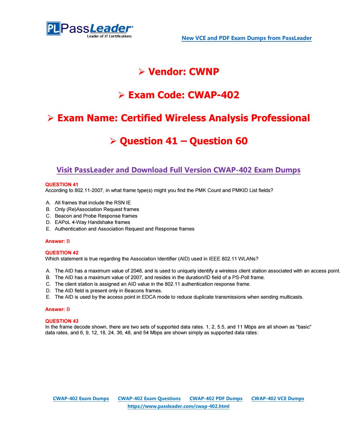 2018 New CWNP CWAP-402 Dumps with PDF and VCE (Question 41-Question ...