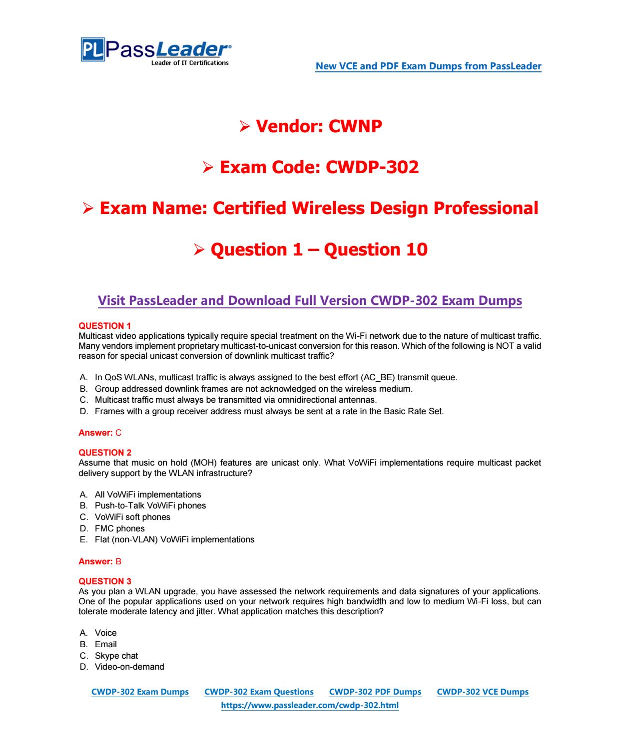 2018 New CWNP CWDP-302 Dumps with PDF and VCE (Question 1-Question ...
