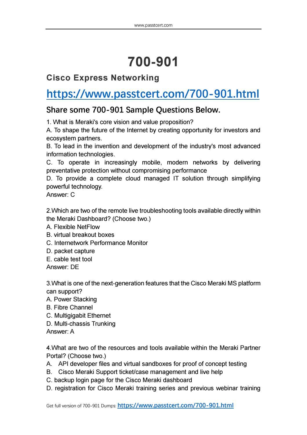 2018 Passtcert Cisco 700-901 Exam Dumps by nigel - issuu