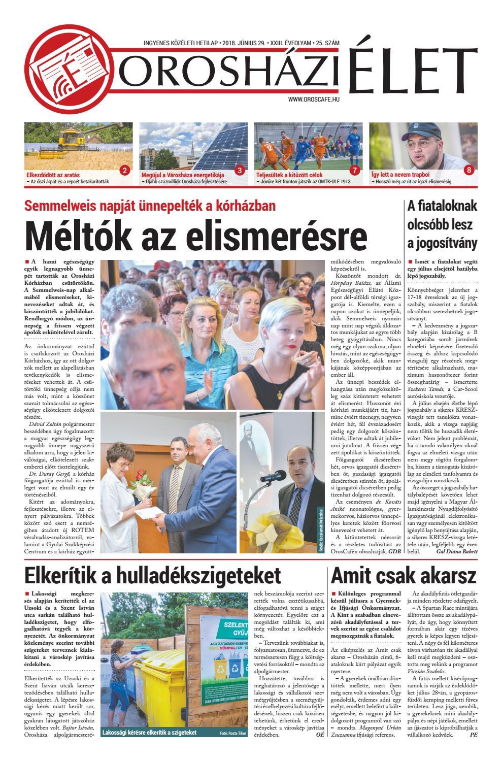 2018.06.29 25. szám Orosházi Élet by OrosCafé - issuu 2307e248d9