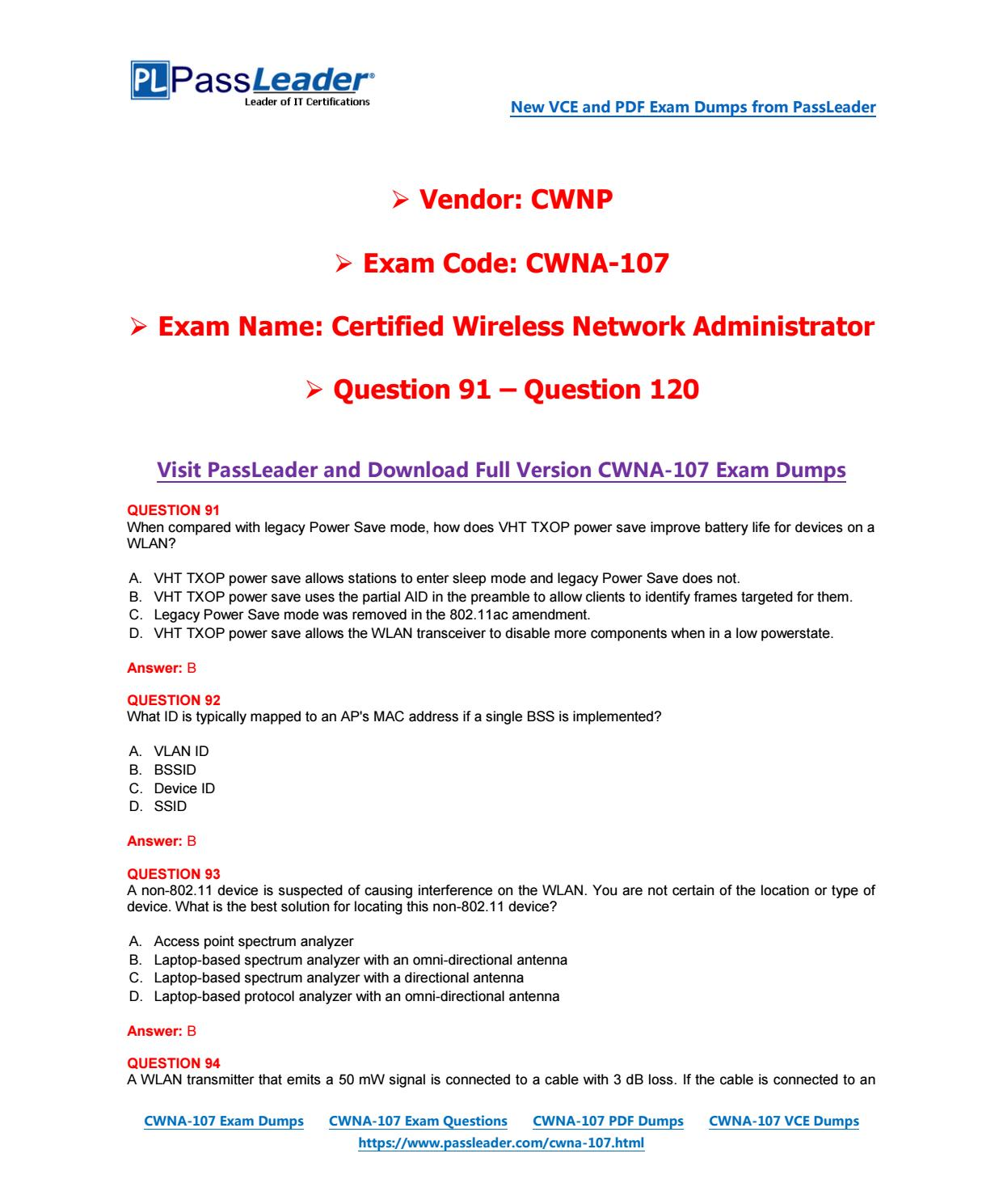 2018 New CWNP CWNA-107 Dumps with PDF and VCE (Question 91-Question ...