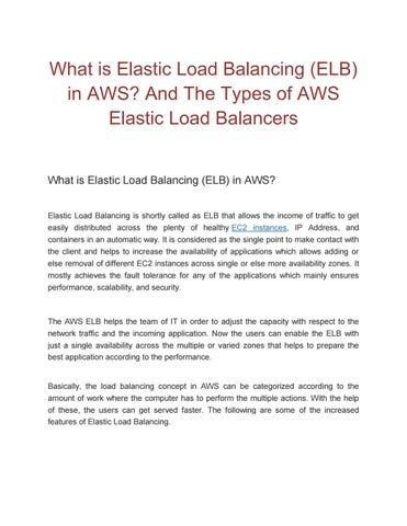 What is elastic load balancing by Nicole kristen - issuu