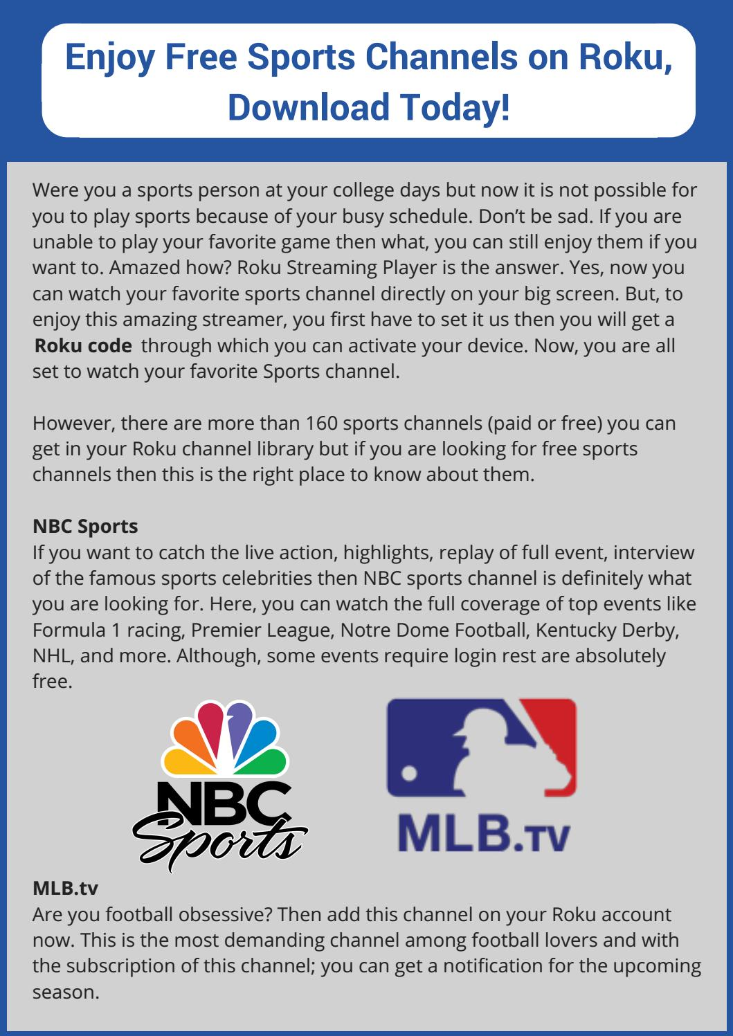 Stream Free Sports Channels on Roku Player by RokuSupports