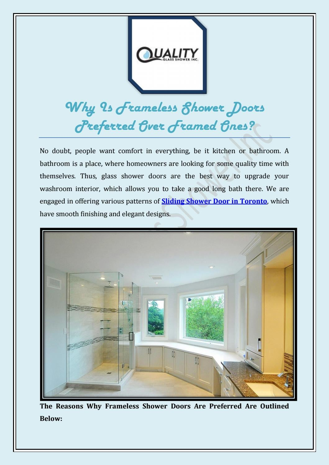 Why Is Frameless Shower Doors Preferred Over Framed Ones? by ...