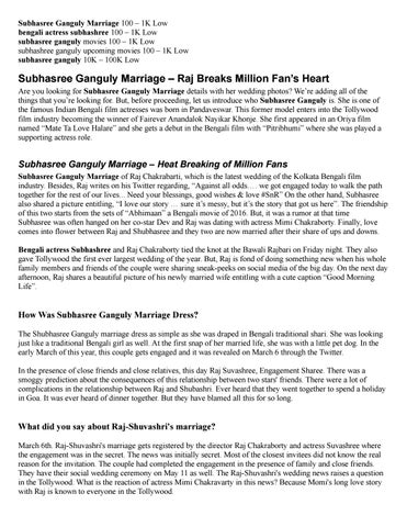 Subhasree Ganguly Marriage – Raj Breaks Million Fan's Heart