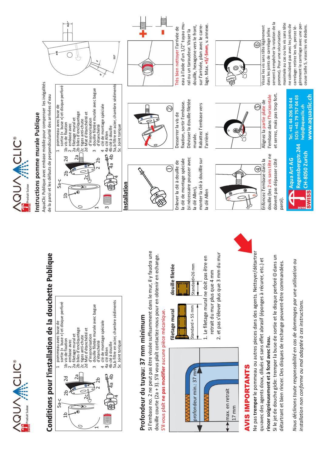 Dévisser Une Vis Sans Tête instructions douchette aquaclic massage eléganceaquaclic