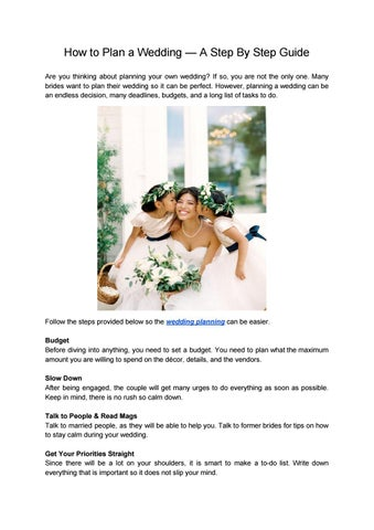 How To Plan A Wedding Step By Guide Are You Thinking About Planning Your Own If So Not The Only One