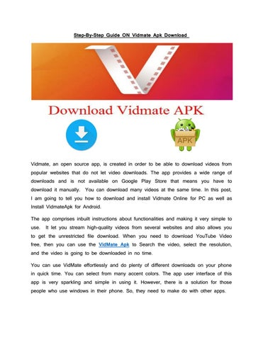 Step by Step Guide on Vidmate apk Download by 9appsdownload - issuu
