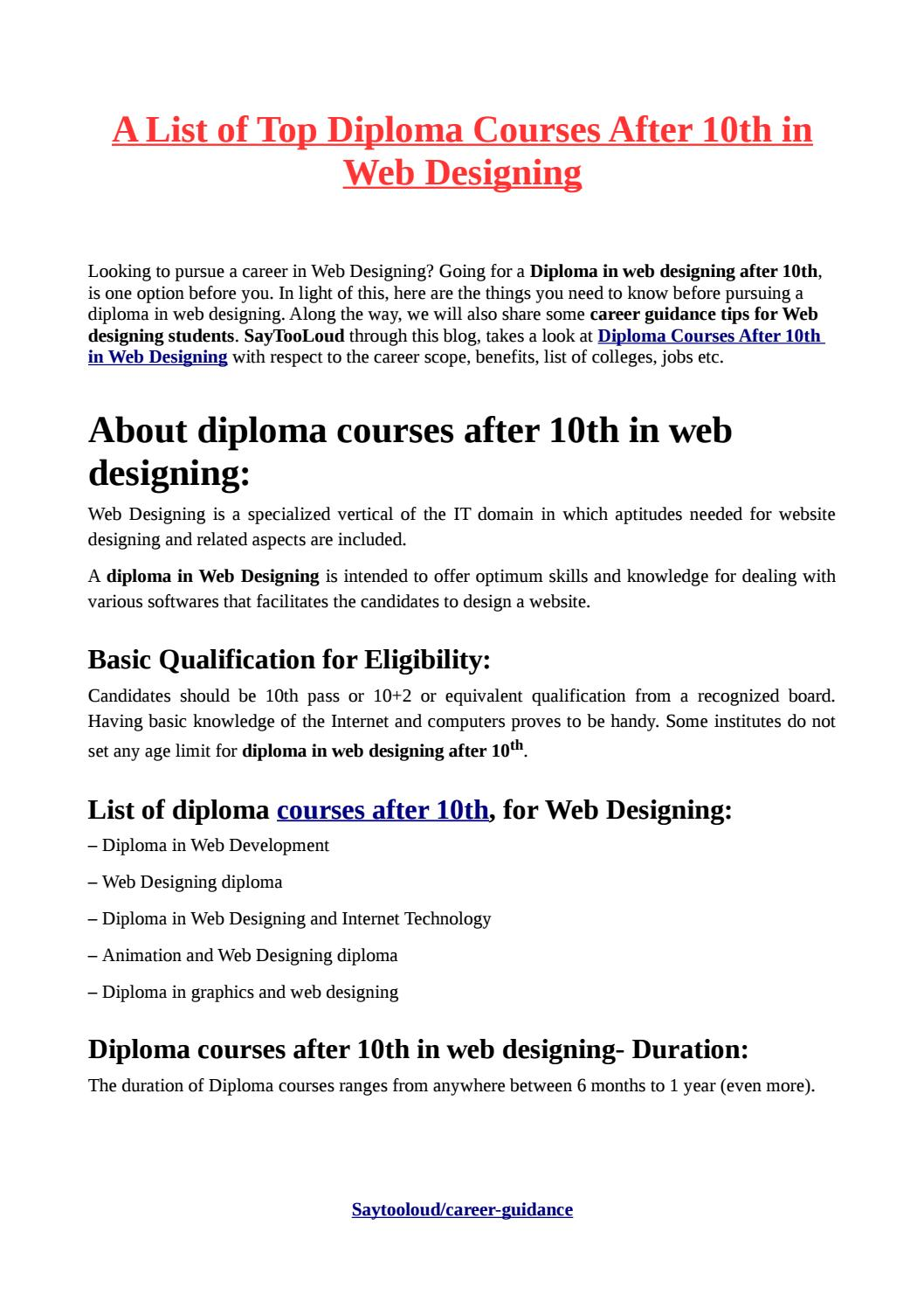 A List Of Top Diploma Courses After 10th In Web Designing By Ashwini Sharma Issuu