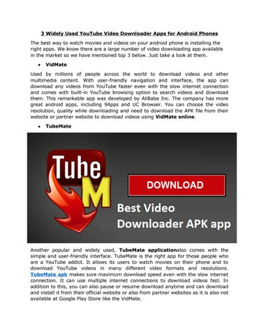 3 Widely Used Youtube Video Downloader Apps For Android Phones by