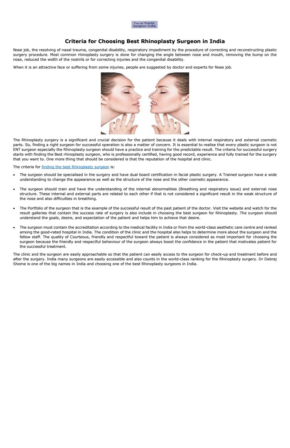 Criteria for choosing best rhinoplasty surgeon in india by